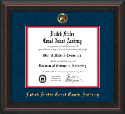 Image of United States Coast Guard Academy Diploma Frame - Mahogany Braid - w/USCGA Embossed Seal & Name - Navy Suede on Red mat
