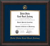 Image of United States Coast Guard Academy Diploma Frame - Mahogany Braid - w/USCGA Embossed Seal & Name - Navy on Gold mat