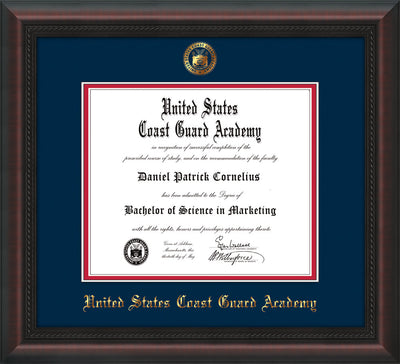 Image of United States Coast Guard Academy Diploma Frame - Mahogany Braid - w/USCGA Embossed Seal & Name - Navy on Red mat