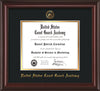 Image of United States Coast Guard Academy Diploma Frame - Mahogany Lacquer - w/USCGA Embossed Seal & Name - Black on Gold mat