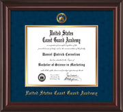 Image of United States Coast Guard Academy Diploma Frame - Mahogany Lacquer - w/USCGA Embossed Seal & Name - Navy Suede on Gold mat
