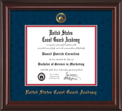 Image of United States Coast Guard Academy Diploma Frame - Mahogany Lacquer - w/USCGA Embossed Seal & Name - Navy Suede on Red mat