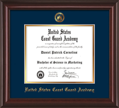 Image of United States Coast Guard Academy Diploma Frame - Mahogany Lacquer - w/USCGA Embossed Seal & Name - Navy on Gold mat
