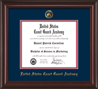 Image of United States Coast Guard Academy Diploma Frame - Mahogany Lacquer - w/USCGA Embossed Seal & Name - Navy on Red mat