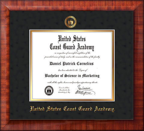 Image of United States Coast Guard Academy Diploma Frame - Mezzo Gloss - w/USCGA Embossed Seal & Name - Black Suede on Gold mat
