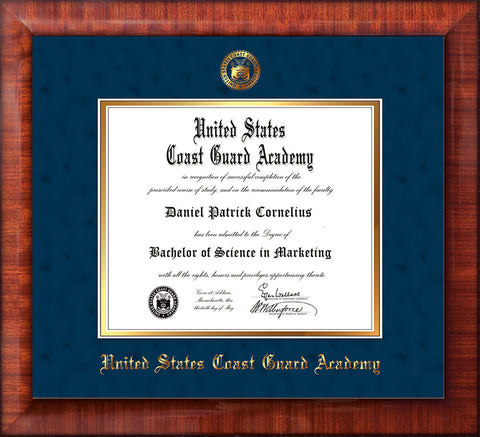 Image of United States Coast Guard Academy Diploma Frame - Mezzo Gloss - w/USCGA Embossed Seal & Name - Navy Suede on Gold mat