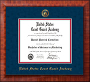 Image of United States Coast Guard Academy Diploma Frame - Mezzo Gloss - w/USCGA Embossed Seal & Name - Navy Suede on Red mat