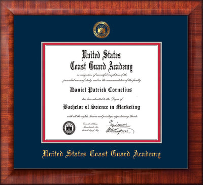 Image of United States Coast Guard Academy Diploma Frame - Mezzo Gloss - w/USCGA Embossed Seal & Name - Navy on Red mat