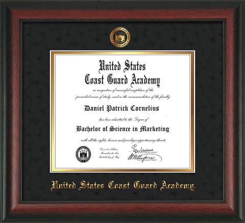 Image of United States Coast Guard Academy Diploma Frame - Rosewood - w/USCGA Embossed Seal & Name - Black Suede on Gold mat