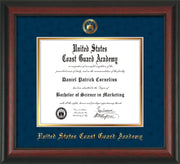 Image of United States Coast Guard Academy Diploma Frame - Rosewood - w/USCGA Embossed Seal & Name - Navy Suede on Gold mat