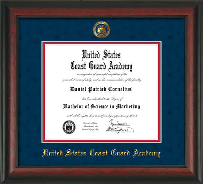 Image of United States Coast Guard Academy Diploma Frame - Rosewood - w/USCGA Embossed Seal & Name - Navy Suede on Red mat
