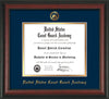 Image of United States Coast Guard Academy Diploma Frame - Rosewood - w/USCGA Embossed Seal & Name - Navy on Gold mat