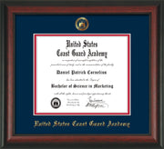 Image of United States Coast Guard Academy Diploma Frame - Rosewood - w/USCGA Embossed Seal & Name - Navy on Red mat