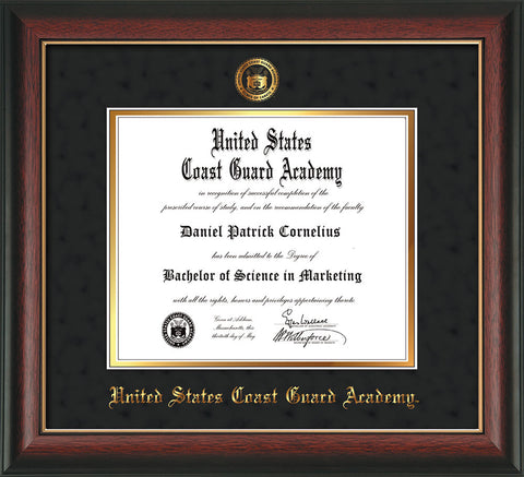 Image of United States Coast Guard Academy Diploma Frame - Rosewood w/Gold Lip - w/USCGA Embossed Seal & Name - Black Suede on Gold mat