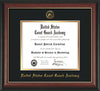 Image of United States Coast Guard Academy Diploma Frame - Rosewood w/Gold Lip - w/USCGA Embossed Seal & Name - Black on Gold mat