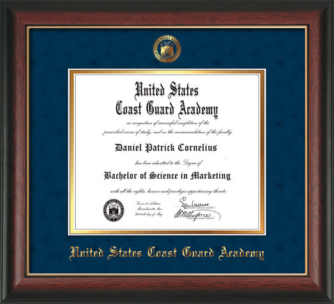 Image of United States Coast Guard Academy Diploma Frame - Rosewood w/Gold Lip - w/USCGA Embossed Seal & Name - Navy Suede on Gold mat