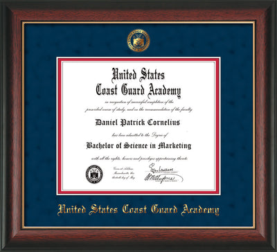 Image of United States Coast Guard Academy Diploma Frame - Rosewood w/Gold Lip - w/USCGA Embossed Seal & Name - Navy Suede on Red mat