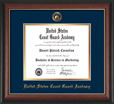 Image of United States Coast Guard Academy Diploma Frame - Rosewood w/Gold Lip - w/USCGA Embossed Seal & Name - Navy on Gold mat