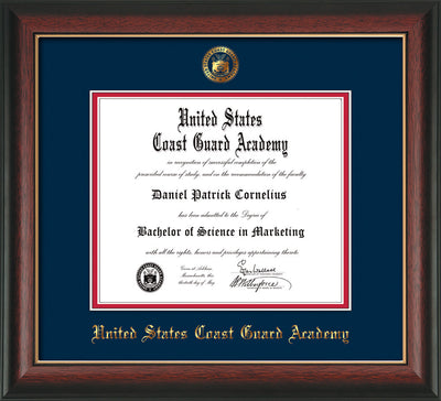 Image of United States Coast Guard Academy Diploma Frame - Rosewood w/Gold Lip - w/USCGA Embossed Seal & Name - Navy on Red mat