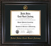 Image of United States Coast Guard Academy Diploma Frame - Vintage Black Scoop - w/USCGA Embossed Seal & Name - Black on Gold mat