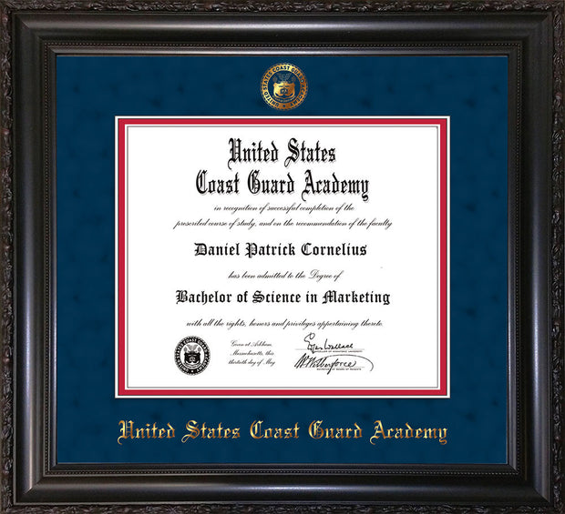 Image of United States Coast Guard Academy Diploma Frame - Vintage Black Scoop - w/USCGA Embossed Seal & Name - Navy Suede on Red mat