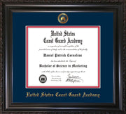 Image of United States Coast Guard Academy Diploma Frame - Vintage Black Scoop - w/USCGA Embossed Seal & Name - Navy on Red mat