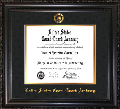 Image of United States Coast Guard Academy Diploma Frame - Vintage Black Scoop - w/USCGA Embossed Seal & Name - Black Suede on Gold mat