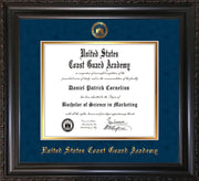 Image of United States Coast Guard Academy Diploma Frame - Vintage Black Scoop - w/USCGA Embossed Seal & Name - Navy Suede on Gold mat