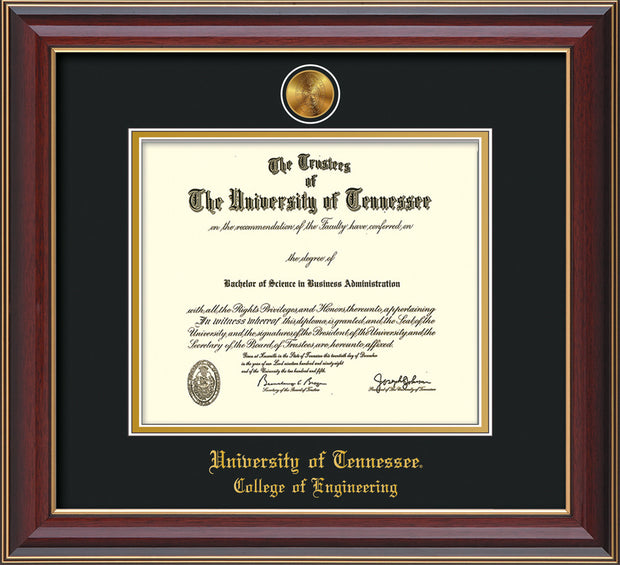 Image of University of Tennessee Diploma Frame - Cherry Lacquer - w/24k Gold Plated Medallion College of Engineering Name Embossing - Black on Gold Mat