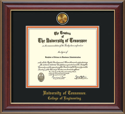 Image of University of Tennessee Diploma Frame - Cherry Lacquer - w/24k Gold Plated Medallion College of Engineering Name Embossing - Black on Orange Mat