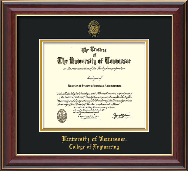 Image of University of Tennessee Diploma Frame - Cherry Lacquer - w/UT Seal & College of Engineering Name Embossing - Black on Gold Mat