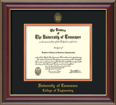 Image of University of Tennessee Diploma Frame - Cherry Lacquer - w/UT Seal & College of Engineering Name Embossing - Black on Orange Mat