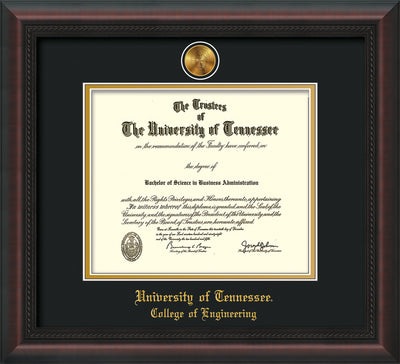 Image of University of Tennessee Diploma Frame - Mahogany Braid - w/24k Gold Plated Medallion College of Engineering Name Embossing - Black on Gold Mat