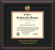 Image of University of Tennessee Diploma Frame - Mahogany Braid - w/24k Gold Plated Medallion College of Engineering Name Embossing - Black on Orange Mat