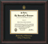Image of University of Tennessee Diploma Frame - Mahogany Braid - w/UT Seal & College of Engineering Name Embossing - Black on Gold Mat