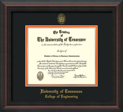 Image of University of Tennessee Diploma Frame - Mahogany Braid - w/UT Seal & College of Engineering Name Embossing - Black on Orange Mat