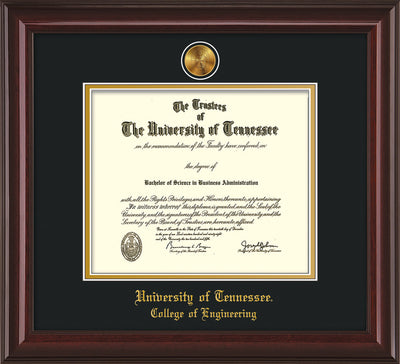Image of University of Tennessee Diploma Frame - Mahogany Lacquer - w/24k Gold Plated Medallion College of Engineering Name Embossing - Black on Gold Mat