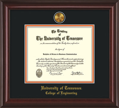 Image of University of Tennessee Diploma Frame - Mahogany Lacquer - w/24k Gold Plated Medallion College of Engineering Name Embossing - Black on Orange Mat