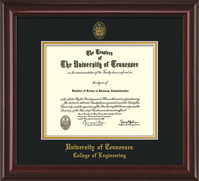 Image of University of Tennessee Diploma Frame - Mahogany Lacquer - w/UT Seal & College of Engineering Name Embossing - Black on Gold Mat