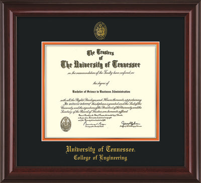 Image of University of Tennessee Diploma Frame - Mahogany Lacquer - w/UT Seal & College of Engineering Name Embossing - Black on Orange Mat