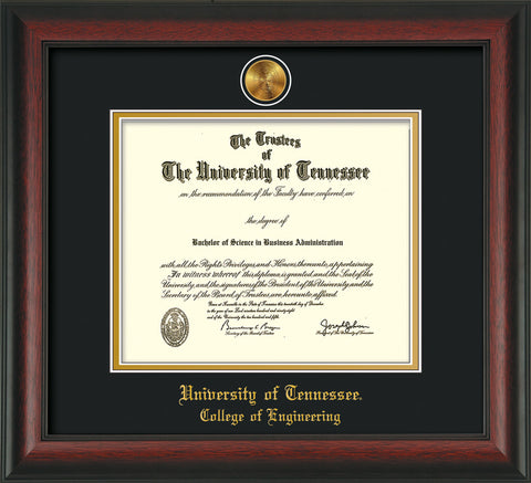 Image of University of Tennessee Diploma Frame - Rosewood - w/24k Gold Plated Medallion College of Engineering Name Embossing - Black on Gold Mat