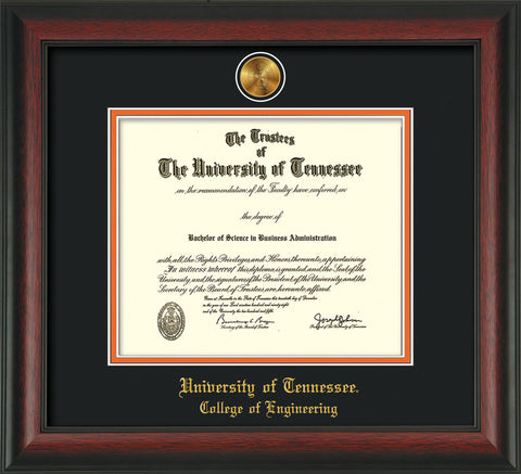 Image of University of Tennessee Diploma Frame - Rosewood - w/24k Gold Plated Medallion College of Engineering Name Embossing - Black on Orange Mat