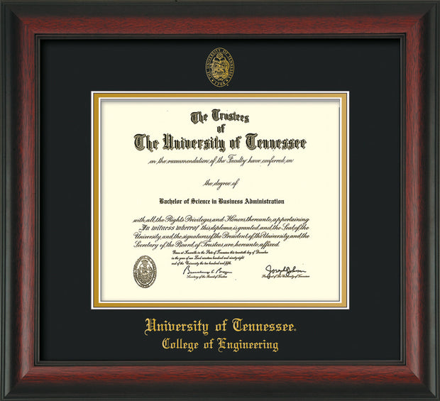 Image of University of Tennessee Diploma Frame - Rosewood - w/UT Seal & College of Engineering Name Embossing - Black on Gold Mat