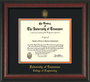 Image of University of Tennessee Diploma Frame - Rosewood - w/UT Seal & College of Engineering Name Embossing - Black on Orange Mat