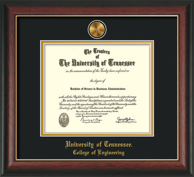 Image of University of Tennessee Diploma Frame - Rosewood w/Gold Lip - w/24k Gold Plated Medallion College of Engineering Name Embossing - Black on Gold Mat