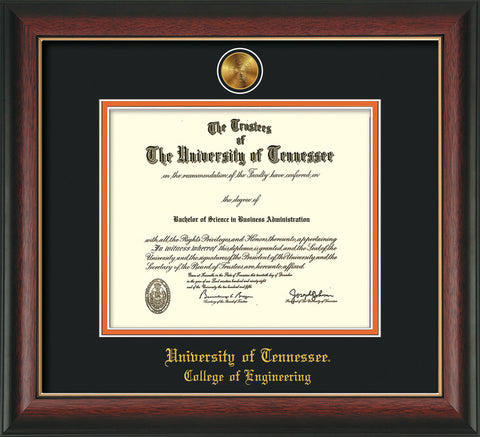 Image of University of Tennessee Diploma Frame - Rosewood w/Gold Lip - w/24k Gold Plated Medallion College of Engineering Name Embossing - Black on Orange Mat