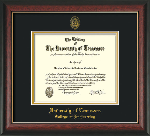 Image of University of Tennessee Diploma Frame - Rosewood w/Gold Lip - w/UT Seal & College of Engineering Name Embossing - Black on Gold Mat