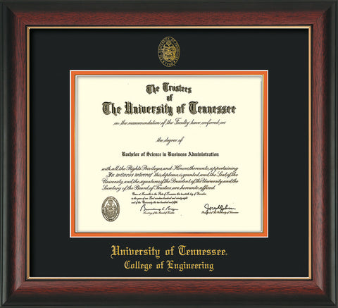 Image of University of Tennessee Diploma Frame - Rosewood w/Gold Lip - w/UT Seal & College of Engineering Name Embossing - Black on Orange Mat