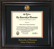 Image of University of Tennessee Diploma Frame - Vintage Black Scoop - w/24k Gold Plated Medallion College of Engineering Name Embossing - Black on Orange Mat