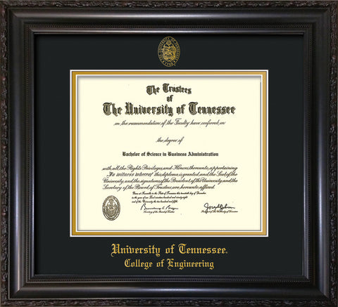 Image of University of Tennessee Diploma Frame - Vintage Black Scoop - w/UT Seal & College of Engineering Name Embossing - Black on Gold Mat